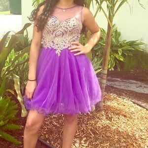 Gold and purple dress